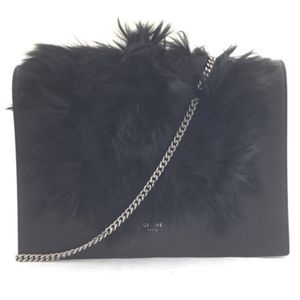 Frame Black Leather and Fur Cross Body Bag
